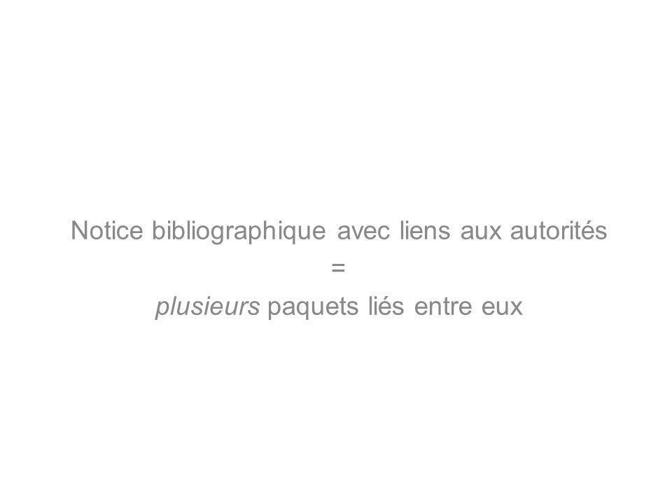 Notice bibliographique avec liens aux autorités = plusieurs paquets liés entre eux