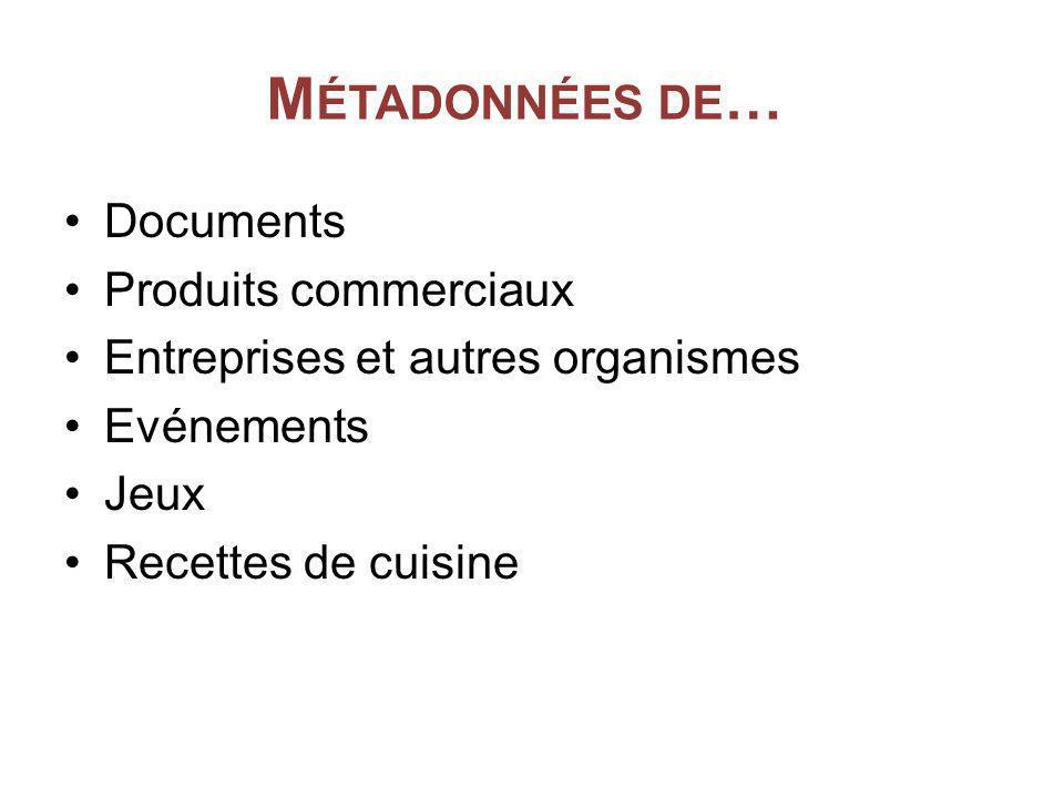 M ÉTADONNÉES DE … Documents Produits commerciaux Entreprises et autres organismes Evénements Jeux Recettes de cuisine