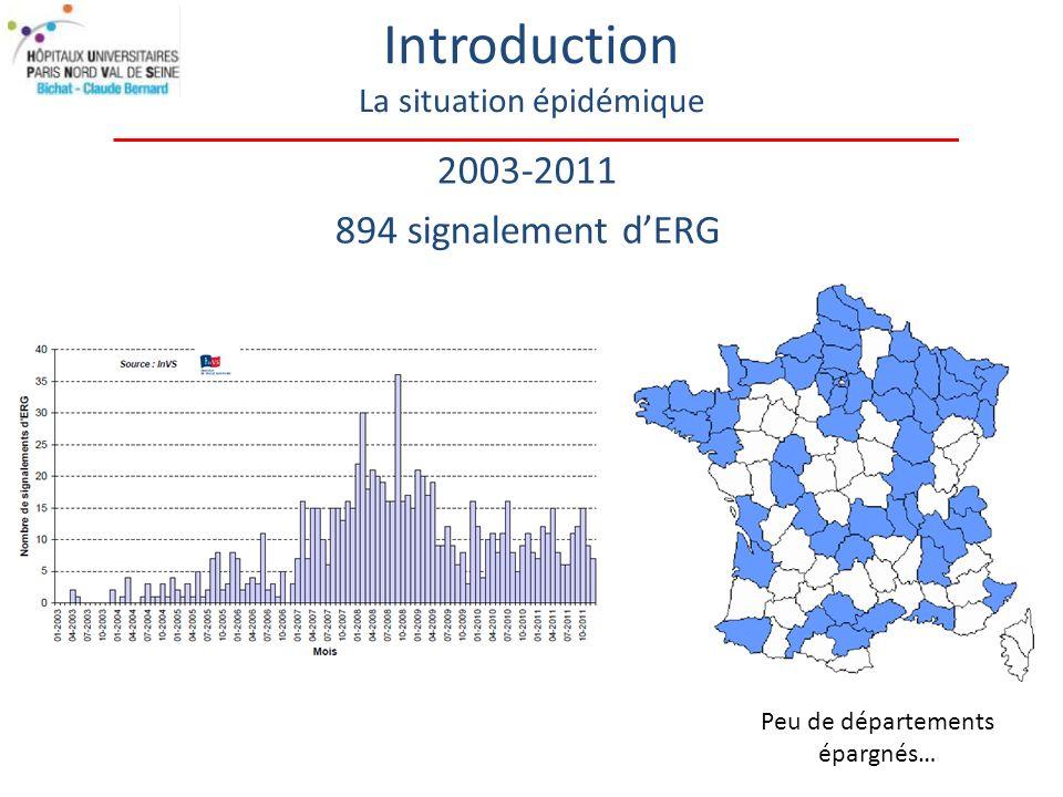 2003-2011 894 signalement dERG Introduction La situation épidémique Peu de départements épargnés…