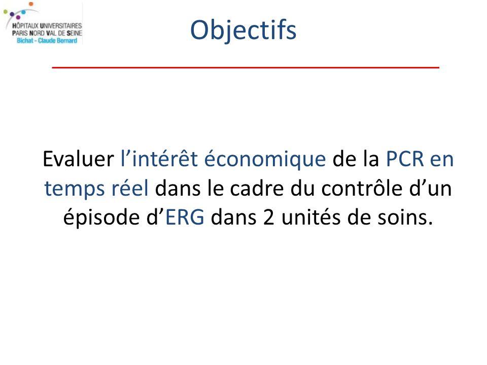 Evaluer lintérêt économique de la PCR en temps réel dans le cadre du contrôle dun épisode dERG dans 2 unités de soins.