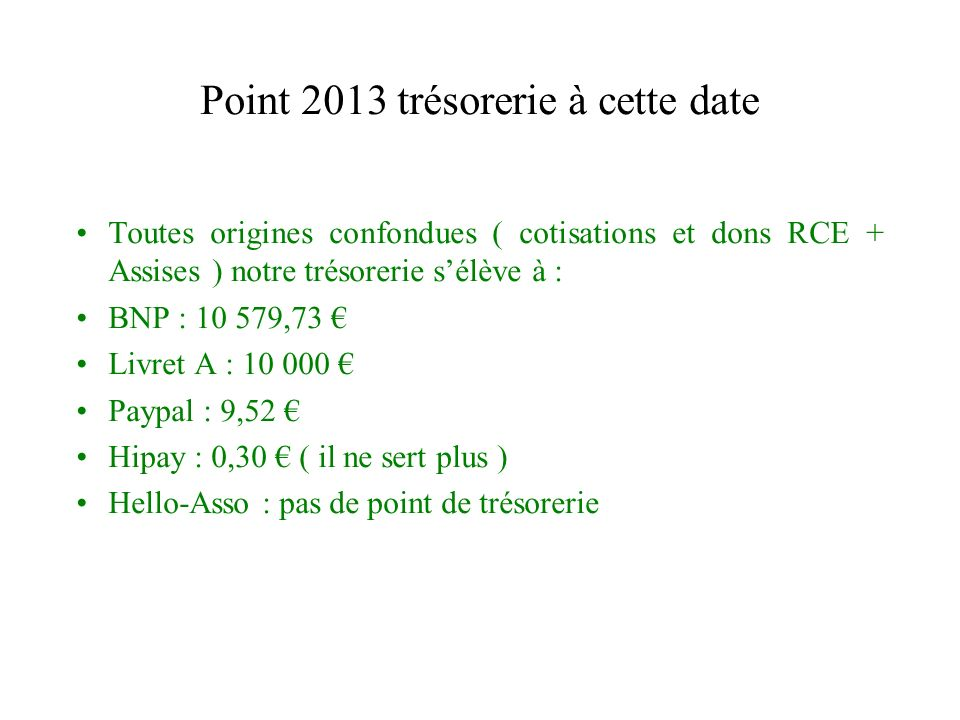 Point 2013 trésorerie à cette date Toutes origines confondues ( cotisations et dons RCE + Assises ) notre trésorerie sélève à : BNP : 10 579,73 Livret