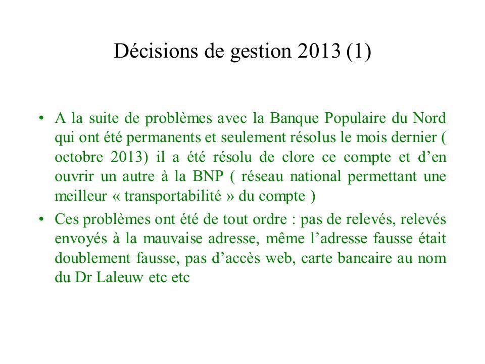 Décisions de gestion 2013 (1) A la suite de problèmes avec la Banque Populaire du Nord qui ont été permanents et seulement résolus le mois dernier ( o