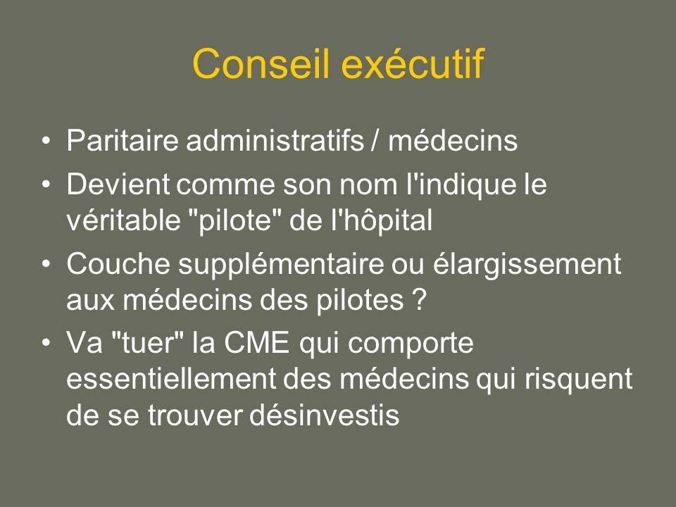 Conseil exécutif Paritaire administratifs / médecins Devient comme son nom l indique le véritable pilote de l hôpital Couche supplémentaire ou élargissement aux médecins des pilotes .