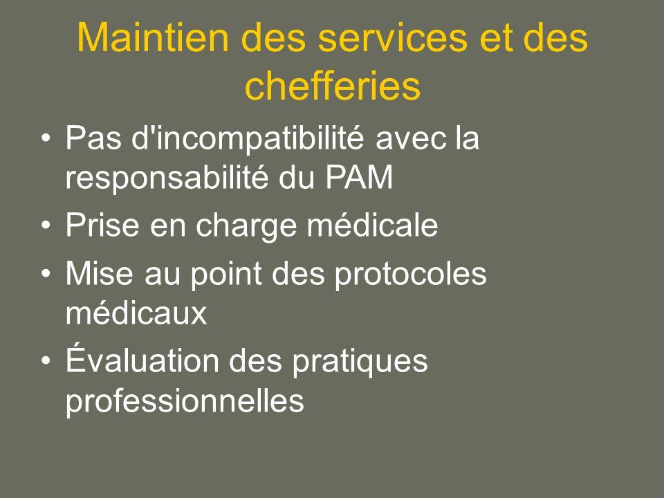 Maintien des services et des chefferies Pas d incompatibilité avec la responsabilité du PAM Prise en charge médicale Mise au point des protocoles médicaux Évaluation des pratiques professionnelles
