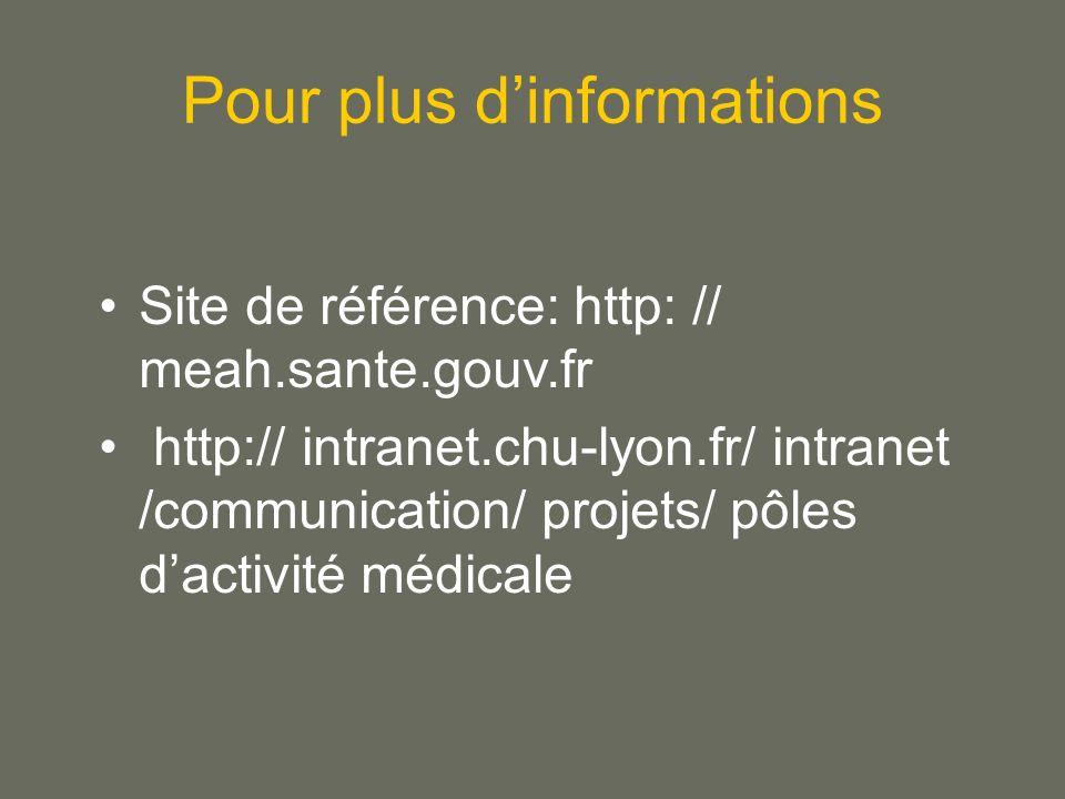 Pour plus dinformations Site de référence: http: // meah.sante.gouv.fr http:// intranet.chu-lyon.fr/ intranet /communication/ projets/ pôles dactivité médicale