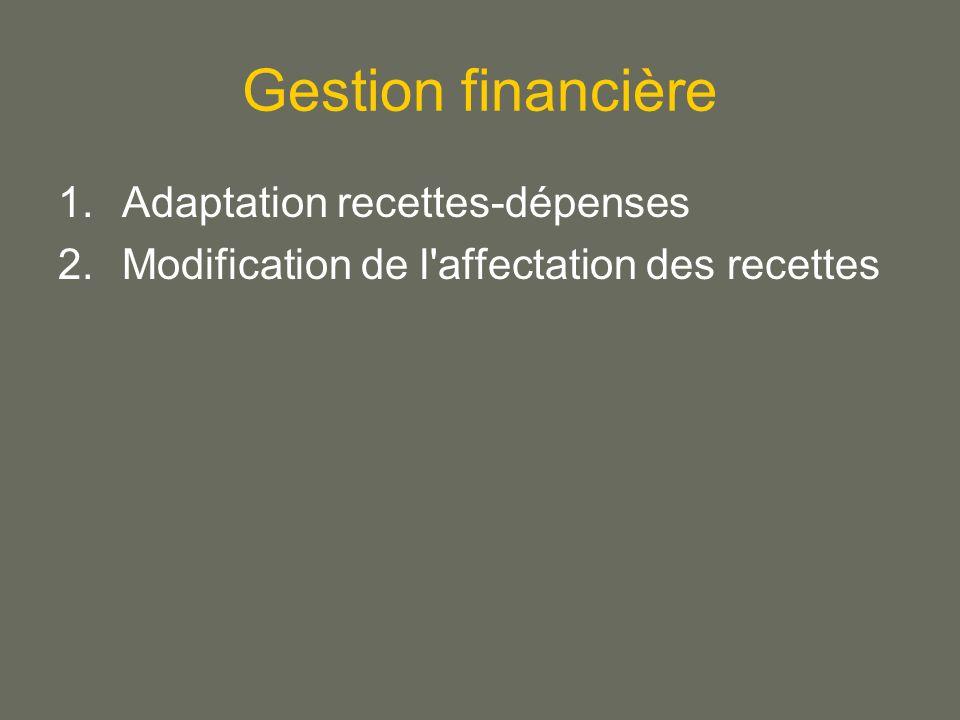 Gestion financière 1.Adaptation recettes-dépenses 2.Modification de l affectation des recettes