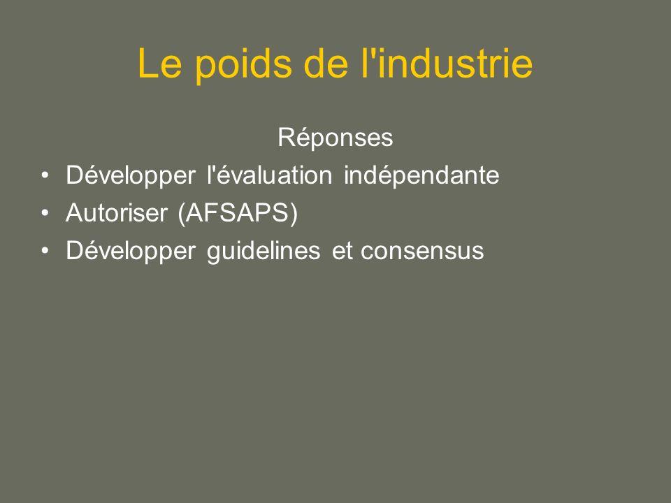 Le poids de l industrie Réponses Développer l évaluation indépendante Autoriser (AFSAPS) Développer guidelines et consensus
