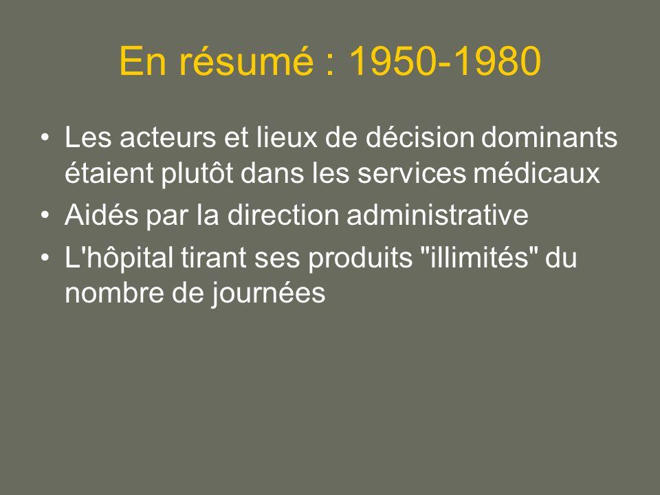 En résumé : 1950-1980 Les acteurs et lieux de décision dominants étaient plutôt dans les services médicaux Aidés par la direction administrative L hôpital tirant ses produits illimités du nombre de journées