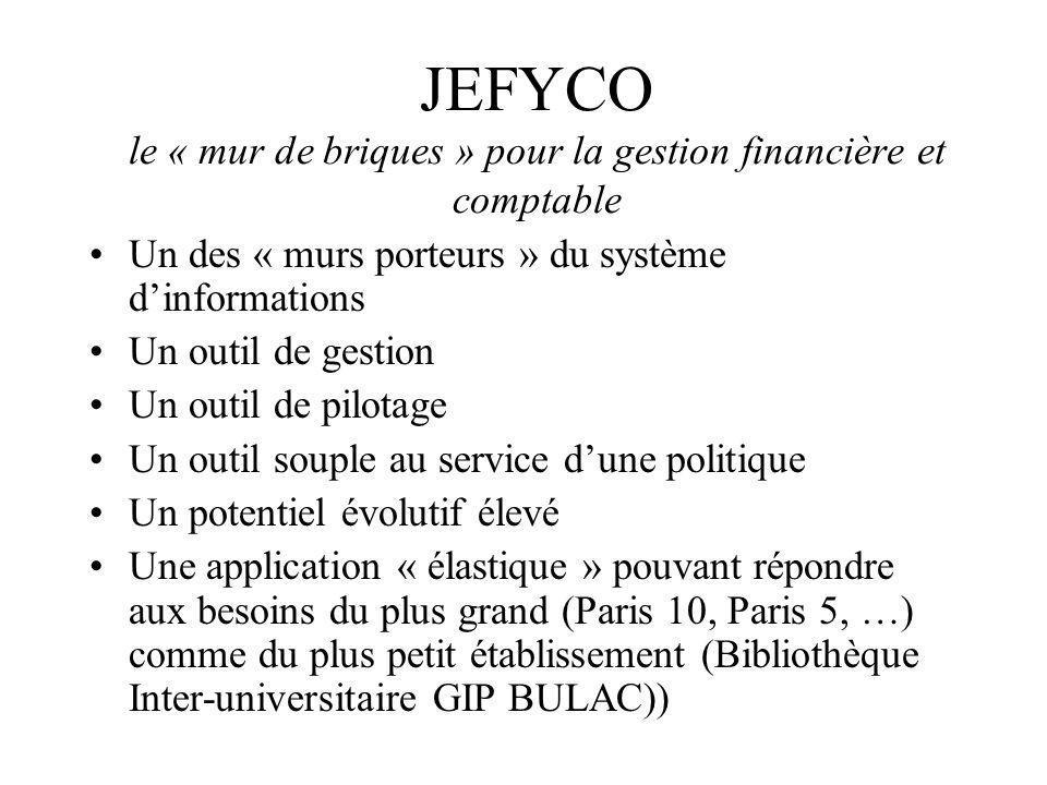 JEFYCO le « mur de briques » pour la gestion financière et comptable Un des « murs porteurs » du système dinformations Un outil de gestion Un outil de