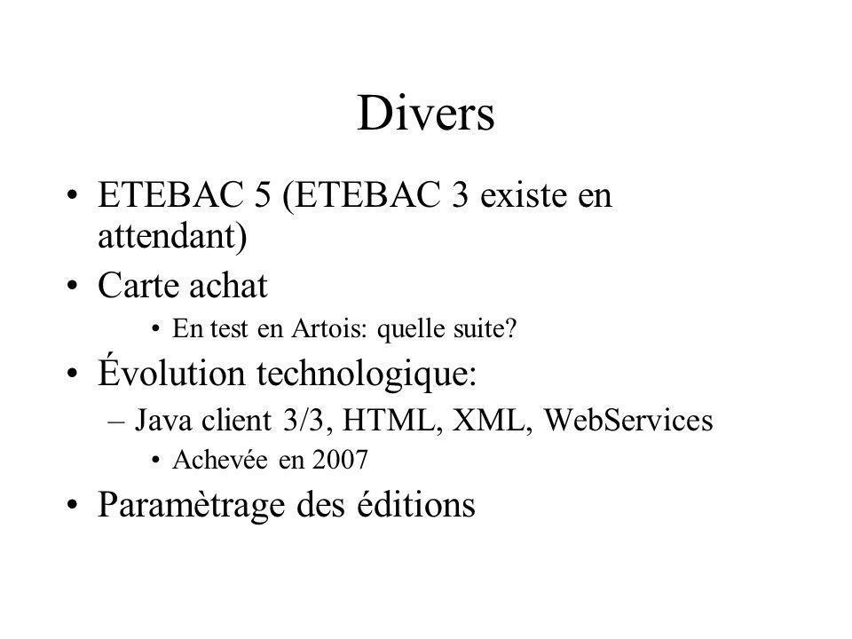 Divers ETEBAC 5 (ETEBAC 3 existe en attendant) Carte achat En test en Artois: quelle suite? Évolution technologique: –Java client 3/3, HTML, XML, WebS