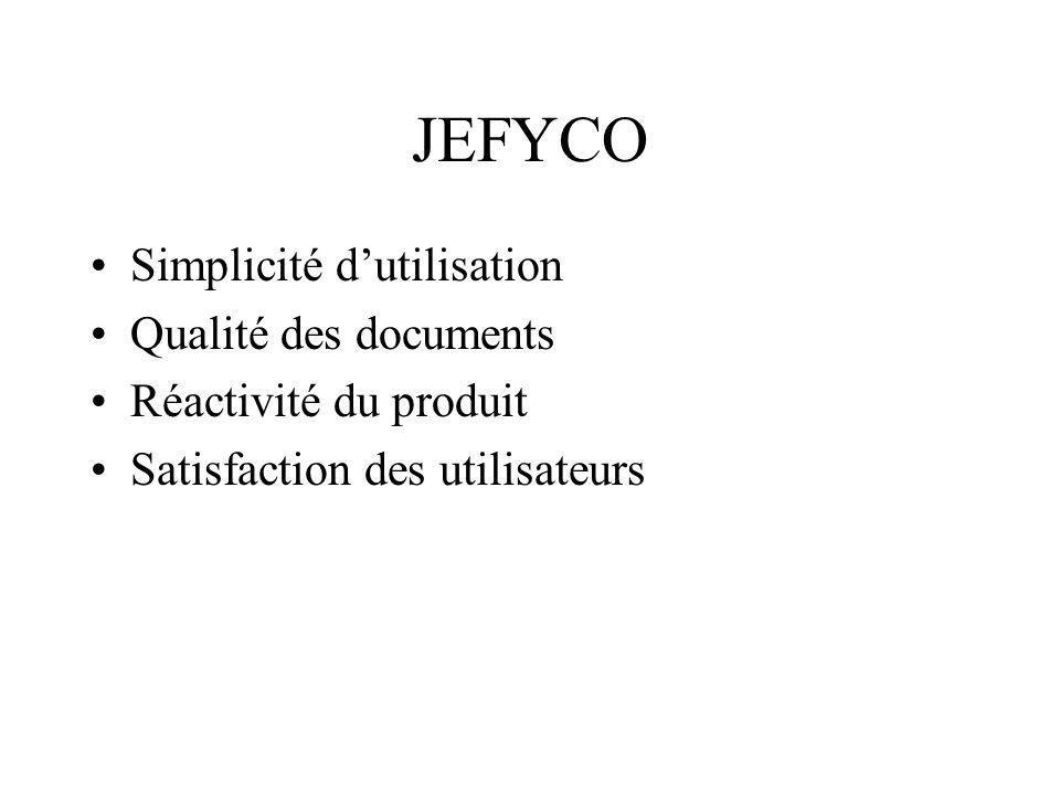 JEFYCO Simplicité dutilisation Qualité des documents Réactivité du produit Satisfaction des utilisateurs