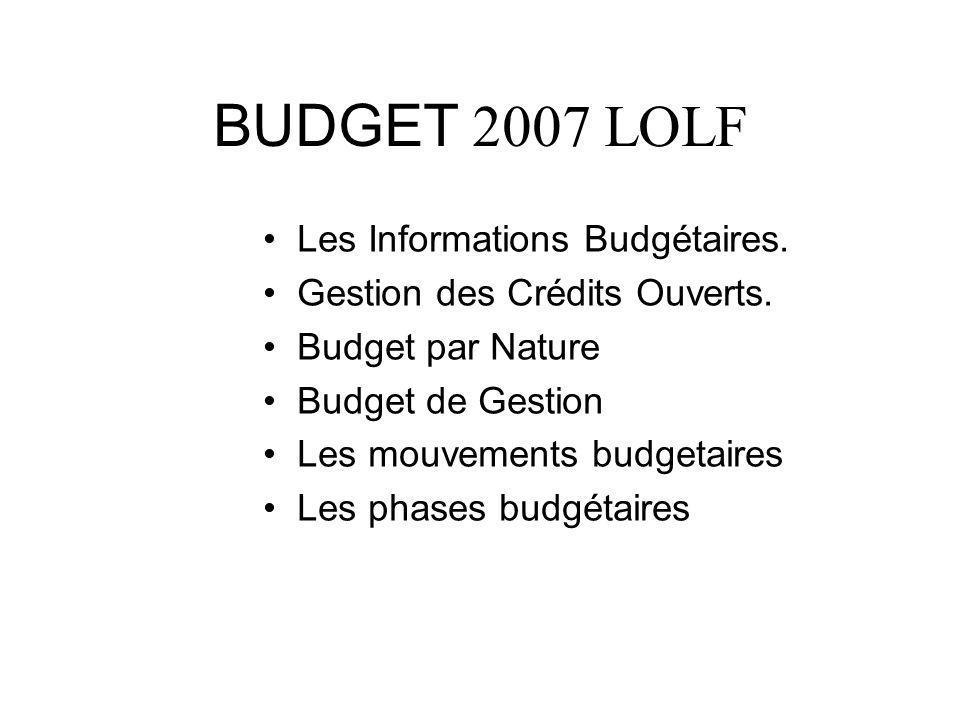 BUDGET 2007 LOLF Les Informations Budgétaires. Gestion des Crédits Ouverts. Budget par Nature Budget de Gestion Les mouvements budgetaires Les phases