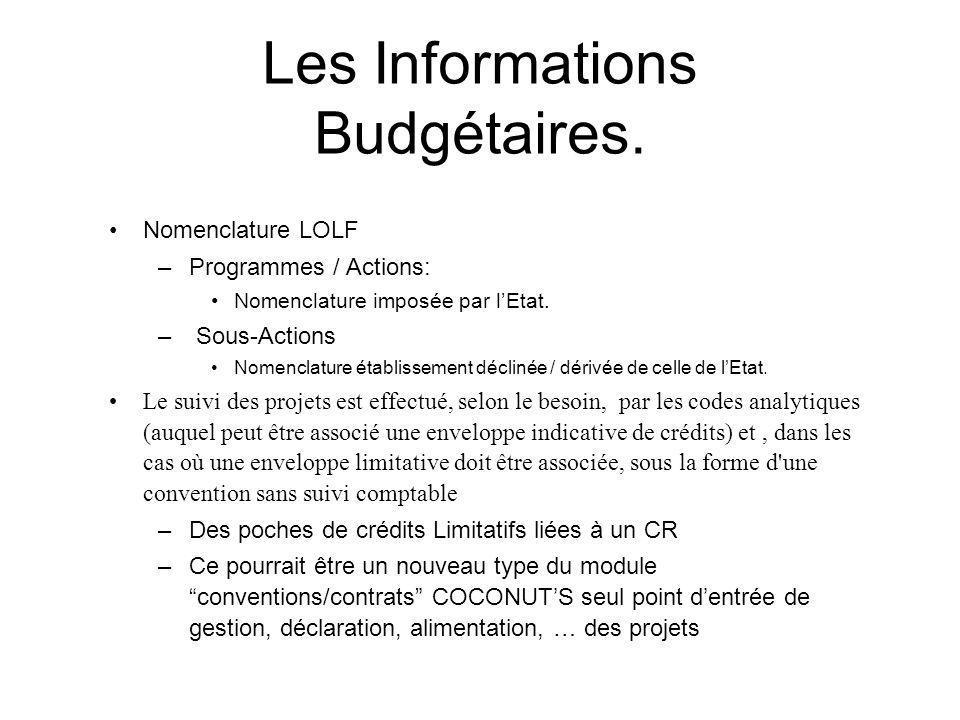 Les Informations Budgétaires. Nomenclature LOLF –Programmes / Actions: Nomenclature imposée par lEtat. – Sous-Actions Nomenclature établissement décli