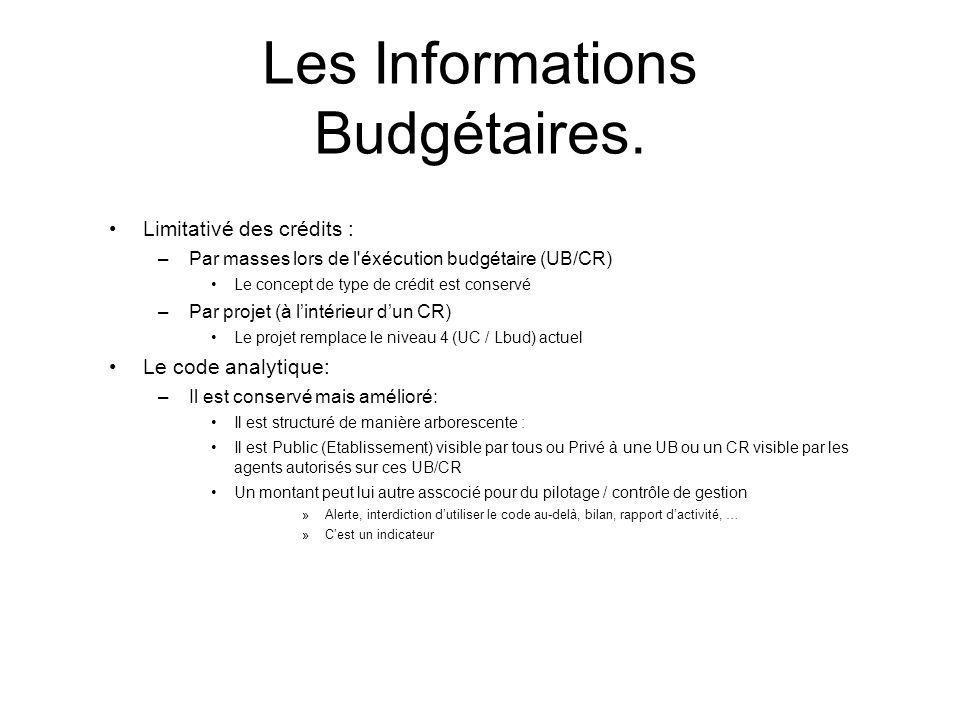 Les Informations Budgétaires. Limitativé des crédits : –Par masses lors de l'éxécution budgétaire (UB/CR) Le concept de type de crédit est conservé –P