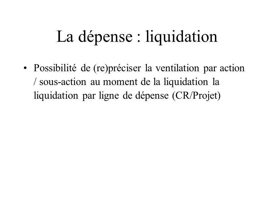 La dépense : liquidation Possibilité de (re)préciser la ventilation par action / sous-action au moment de la liquidation la liquidation par ligne de d