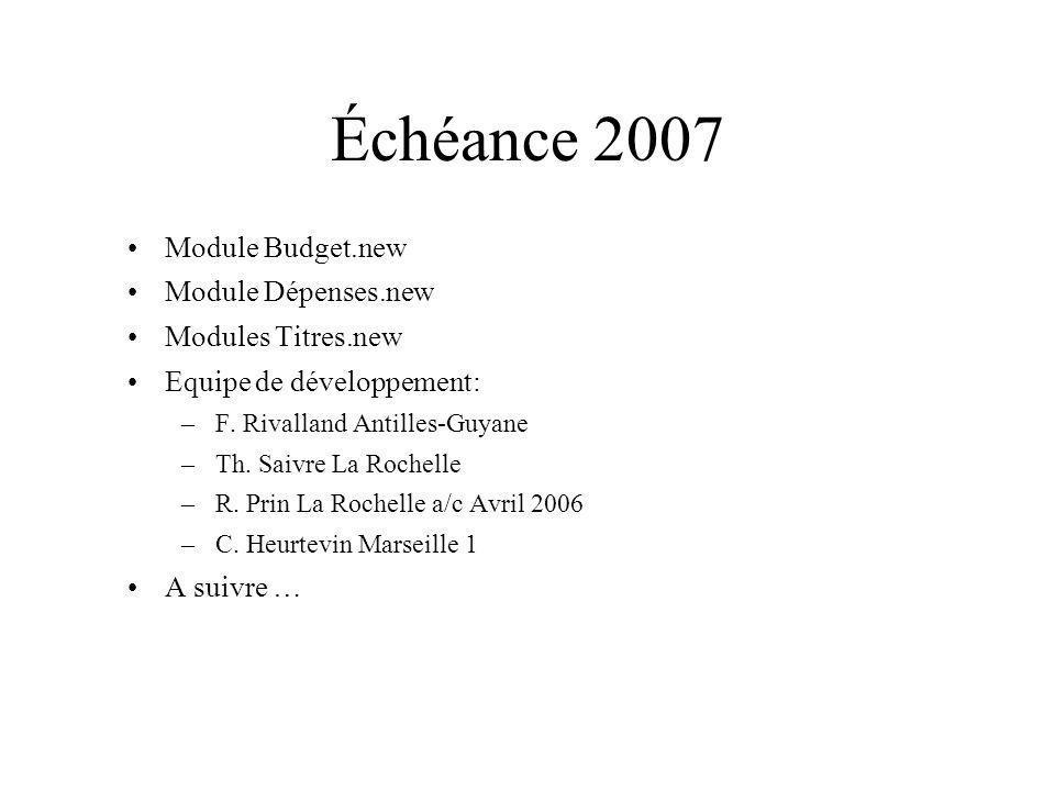 Échéance 2007 Module Budget.new Module Dépenses.new Modules Titres.new Equipe de développement: –F. Rivalland Antilles-Guyane –Th. Saivre La Rochelle