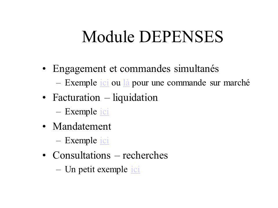 Module DEPENSES Engagement et commandes simultanés –Exemple ici ou là pour une commande sur marchéicilà Facturation – liquidation –Exemple iciici Mand
