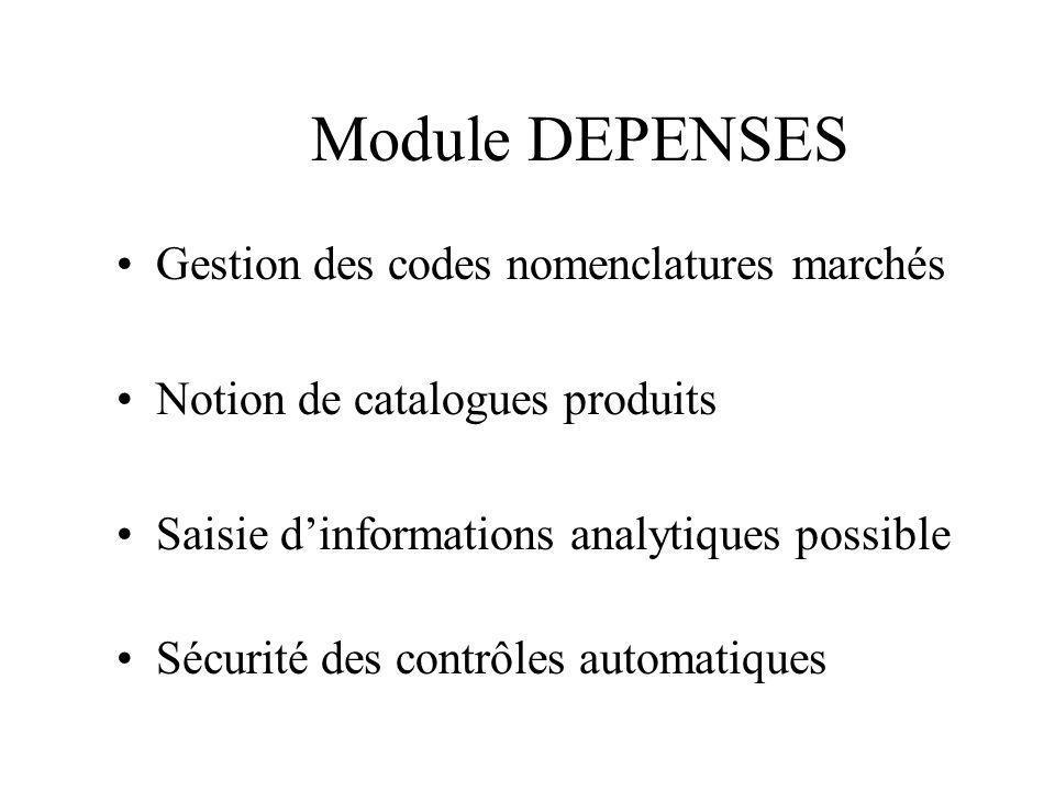 Module DEPENSES Gestion des codes nomenclatures marchés Notion de catalogues produits Saisie dinformations analytiques possible Sécurité des contrôles