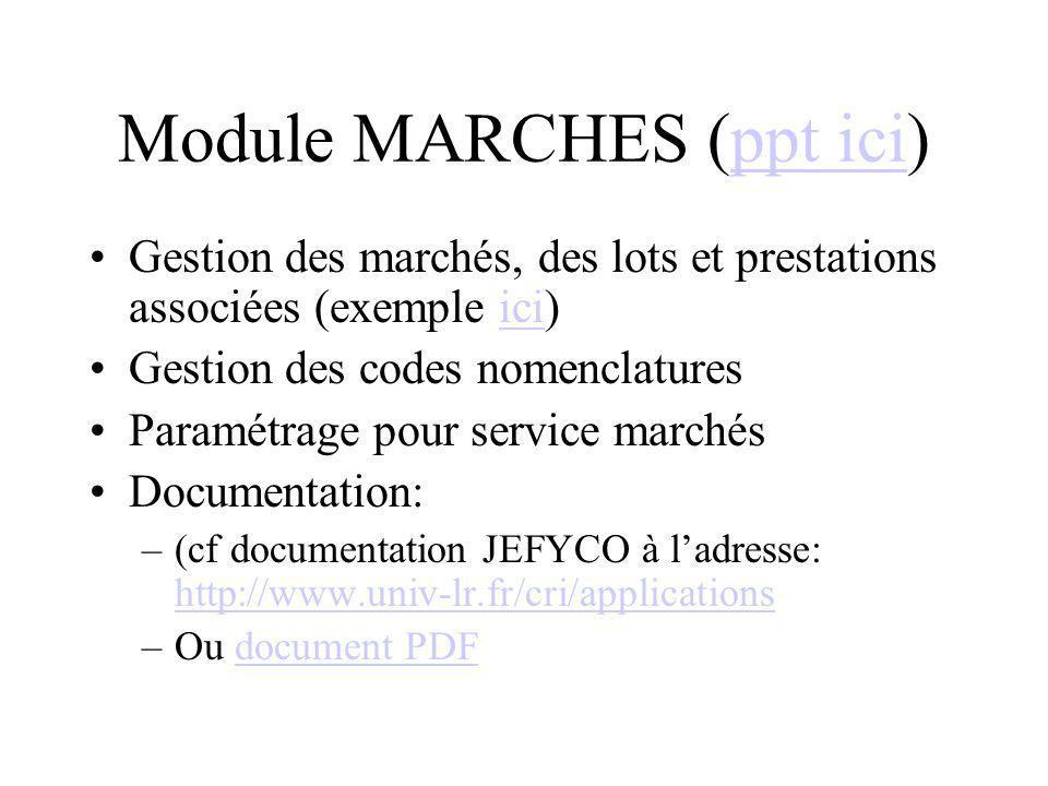 Module MARCHES (ppt ici)ppt ici Gestion des marchés, des lots et prestations associées (exemple ici)ici Gestion des codes nomenclatures Paramétrage po