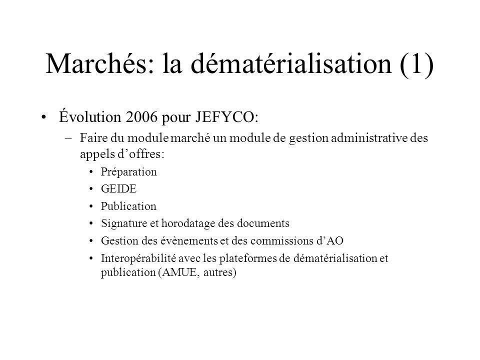 Marchés: la dématérialisation (1) Évolution 2006 pour JEFYCO: –Faire du module marché un module de gestion administrative des appels doffres: Préparat