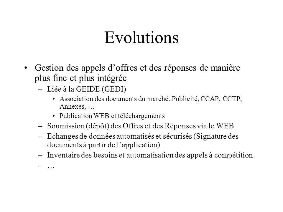 Evolutions Gestion des appels doffres et des réponses de manière plus fine et plus intégrée –Liée à la GEIDE (GEDI) Association des documents du march