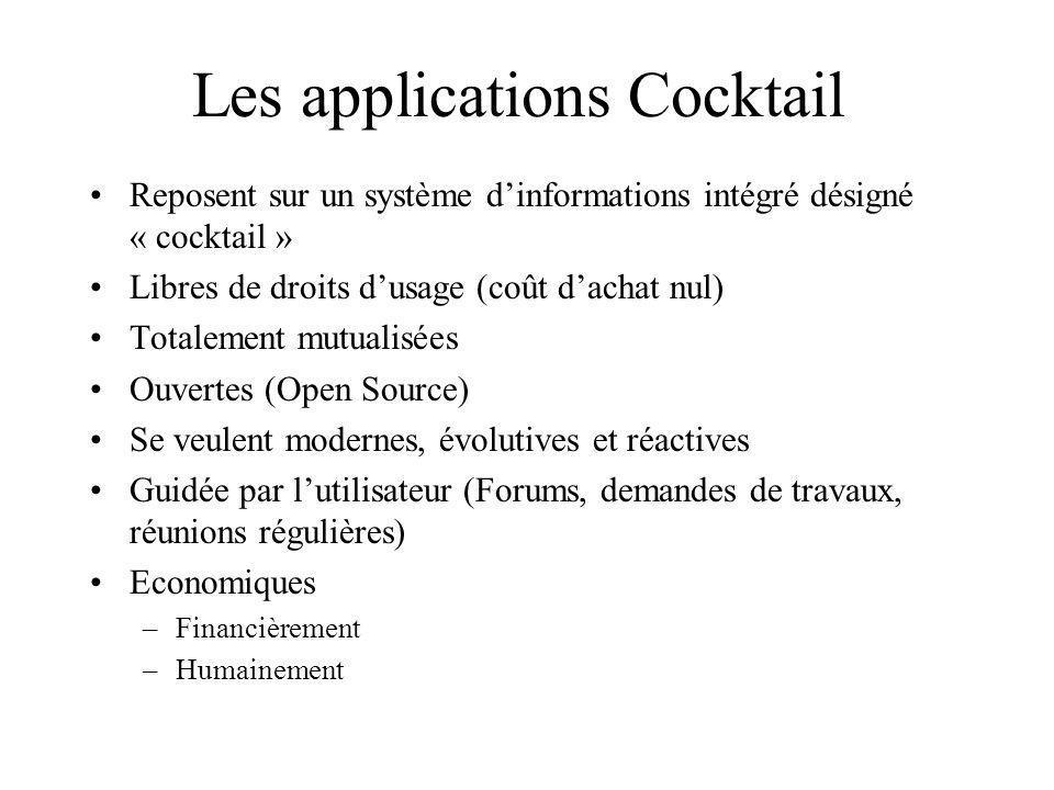 Les applications Cocktail Reposent sur un système dinformations intégré désigné « cocktail » Libres de droits dusage (coût dachat nul) Totalement mutu