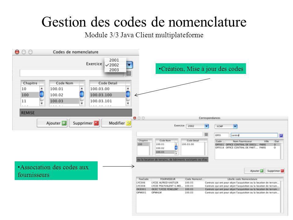 Gestion des codes de nomenclature Module 3/3 Java Client multiplateforme Création, Mise à jour des codes Association des codes aux fournisseurs