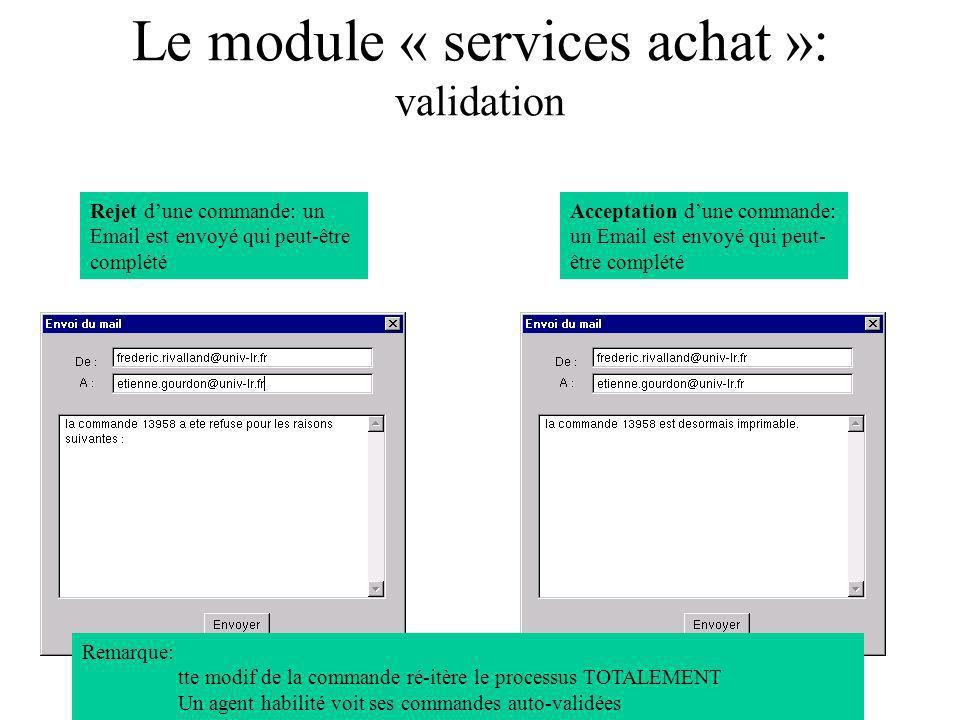 Le module « services achat »: validation Rejet dune commande: un Email est envoyé qui peut-être complété Acceptation dune commande: un Email est envoy