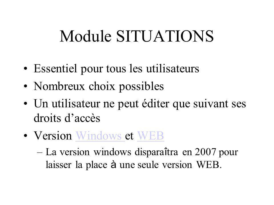 Module SITUATIONS Essentiel pour tous les utilisateurs Nombreux choix possibles Un utilisateur ne peut éditer que suivant ses droits daccès Version Wi