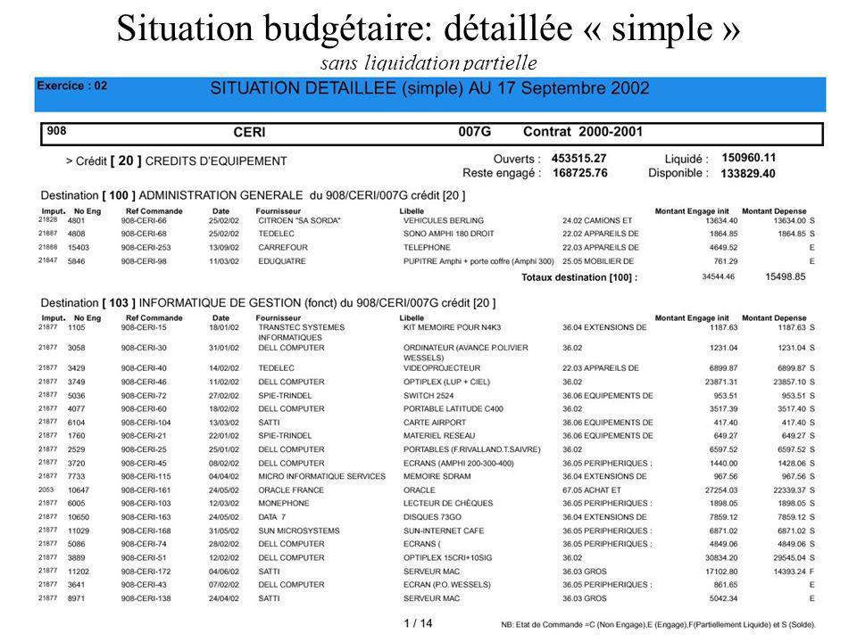 Situation budgétaire: détaillée « simple » sans liquidation partielle
