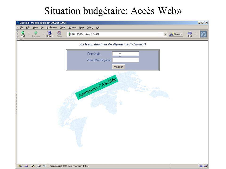 Situation budgétaire: Accès Web» Application CASsifi é e