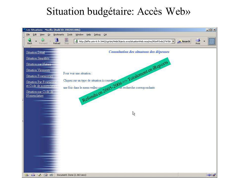 Situation budgétaire: Accès Web» Refondu en 2005-2006 => Totalement en iReports