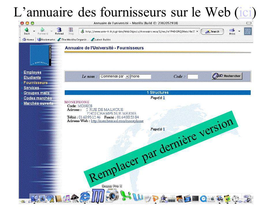 Lannuaire des fournisseurs sur le Web (ici)ici Remplacer par dernière version