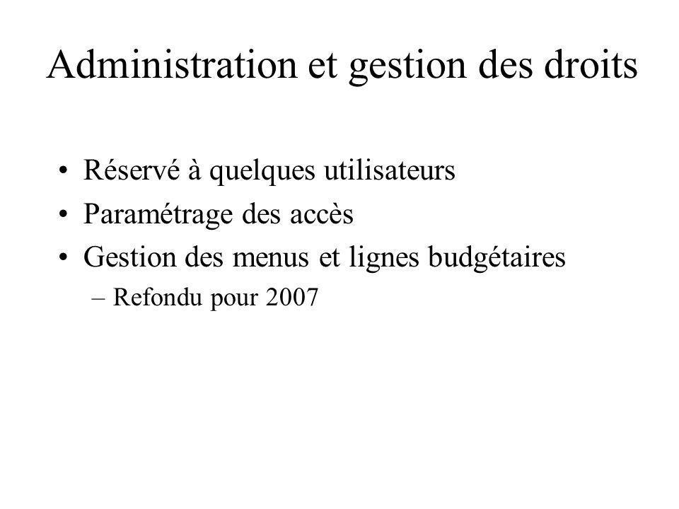Administration et gestion des droits Réservé à quelques utilisateurs Paramétrage des accès Gestion des menus et lignes budgétaires –Refondu pour 2007