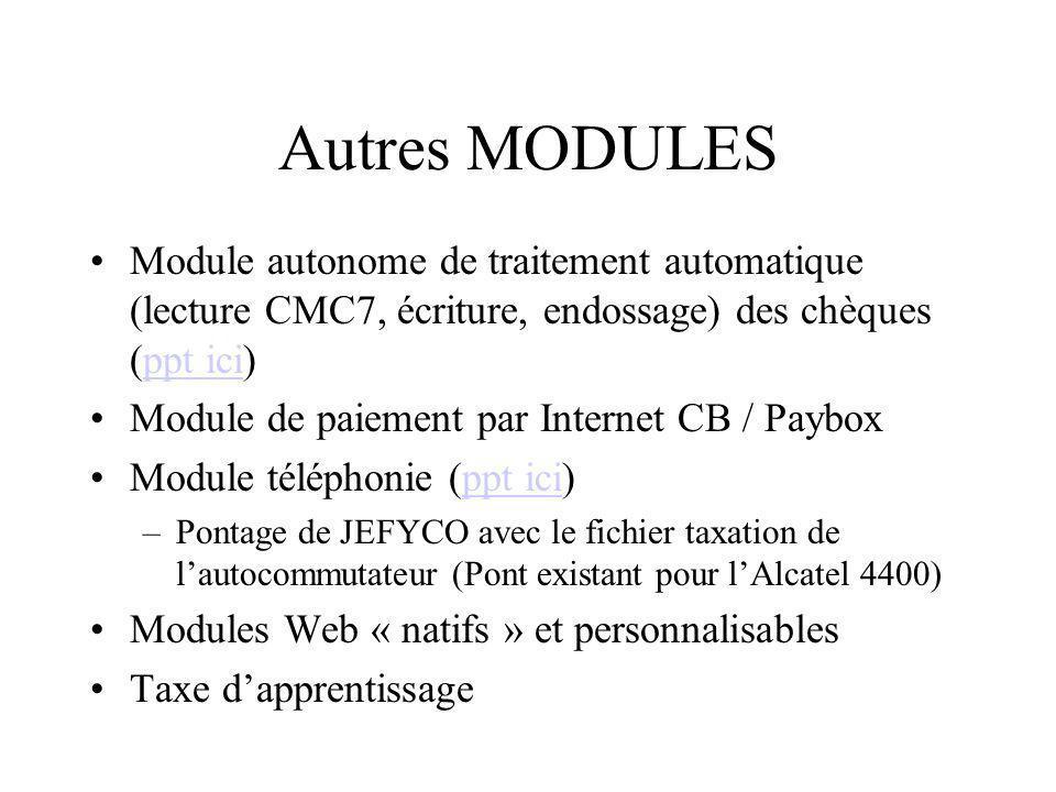 Autres MODULES Module autonome de traitement automatique (lecture CMC7, écriture, endossage) des chèques (ppt ici)ppt ici Module de paiement par Inter