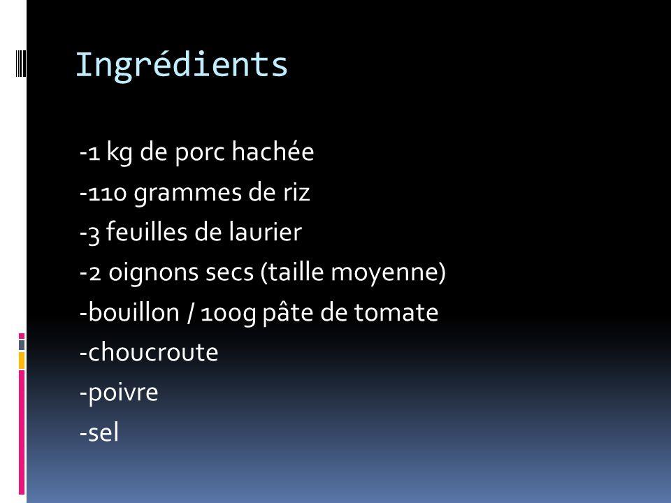Ingrédients -1 kg de porc hachée -110 grammes de riz -3 feuilles de laurier -2 oignons secs (taille moyenne) -bouillon / 100g pâte de tomate -choucroute -poivre -sel