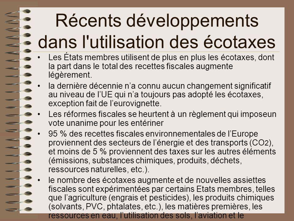 Récents développements dans l utilisation des écotaxes Les États membres utilisent de plus en plus les écotaxes, dont la part dans le total des recettes fiscales augmente légèrement.