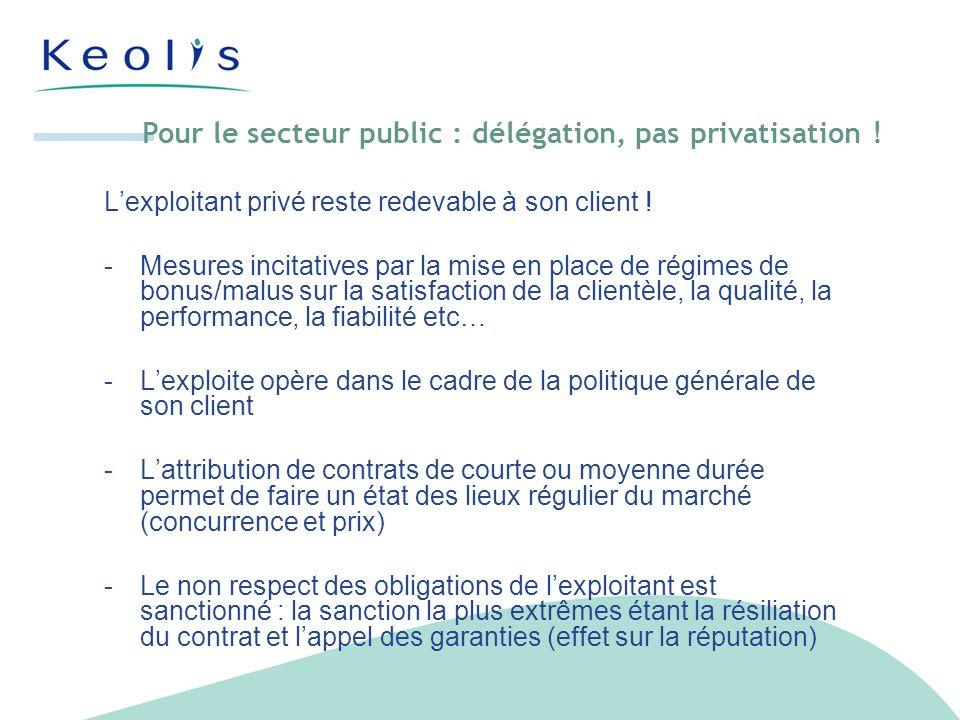Pour le secteur public : délégation, pas privatisation .