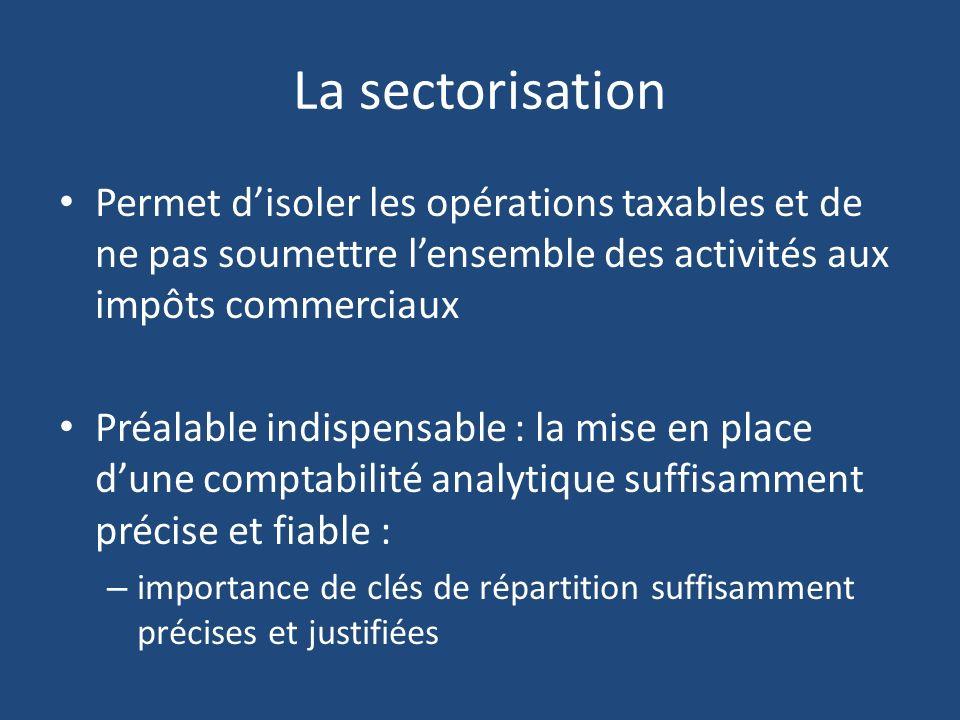 La sectorisation Permet disoler les opérations taxables et de ne pas soumettre lensemble des activités aux impôts commerciaux Préalable indispensable