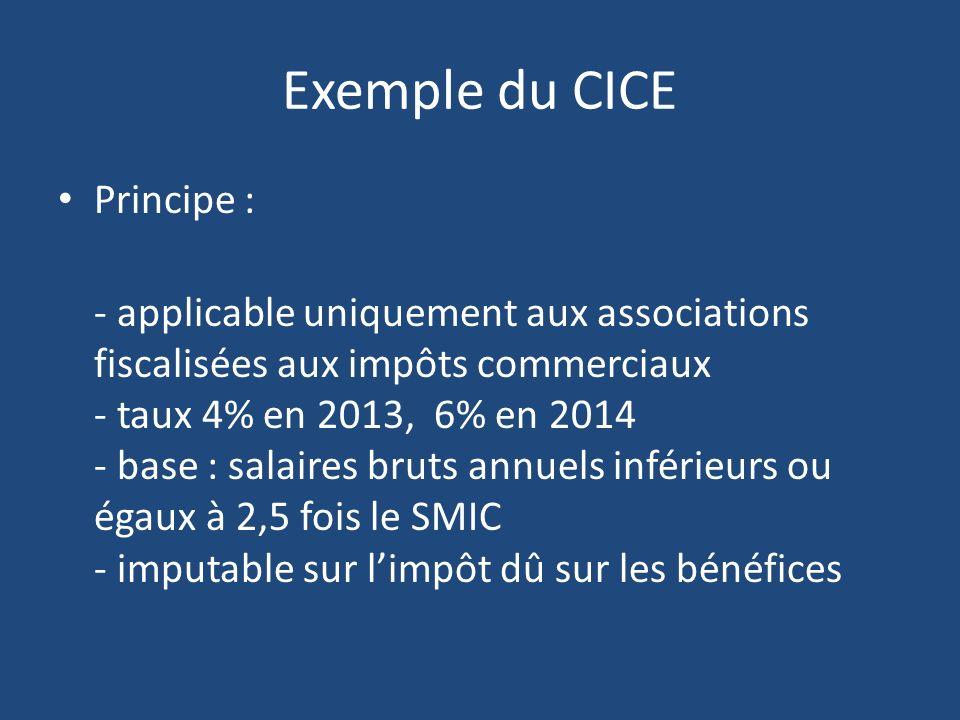 Exemple du CICE Principe : - applicable uniquement aux associations fiscalisées aux impôts commerciaux - taux 4% en 2013, 6% en 2014 - base : salaires