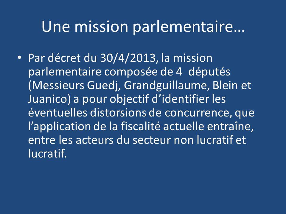 Une mission parlementaire… Par décret du 30/4/2013, la mission parlementaire composée de 4 députés (Messieurs Guedj, Grandguillaume, Blein et Juanico)