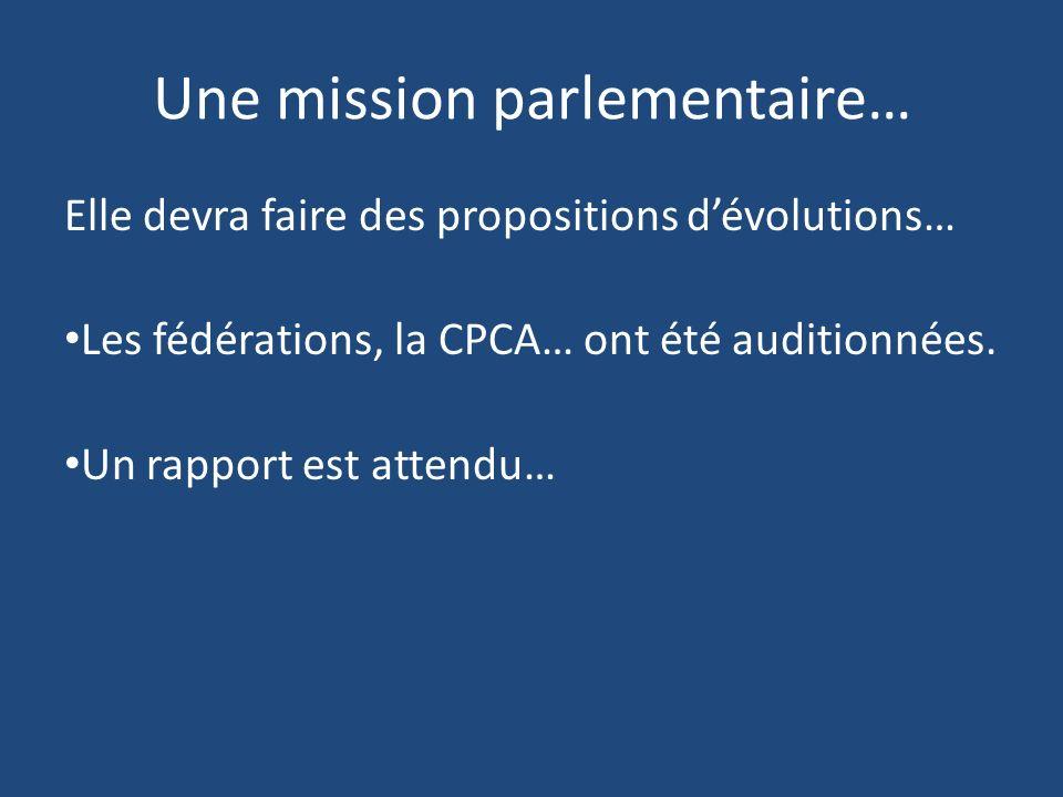 Une mission parlementaire… Elle devra faire des propositions dévolutions… Les fédérations, la CPCA… ont été auditionnées. Un rapport est attendu…