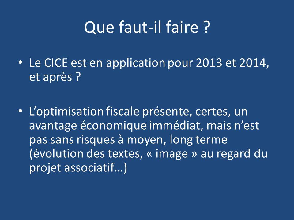 Que faut-il faire ? Le CICE est en application pour 2013 et 2014, et après ? Loptimisation fiscale présente, certes, un avantage économique immédiat,
