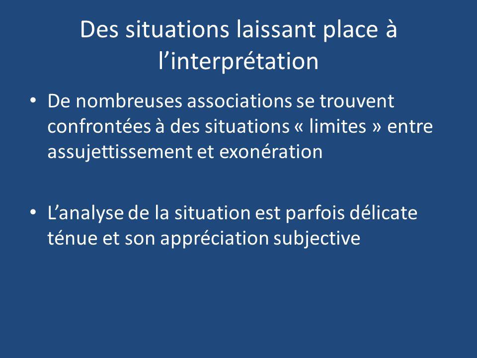 Des situations laissant place à linterprétation De nombreuses associations se trouvent confrontées à des situations « limites » entre assujettissement