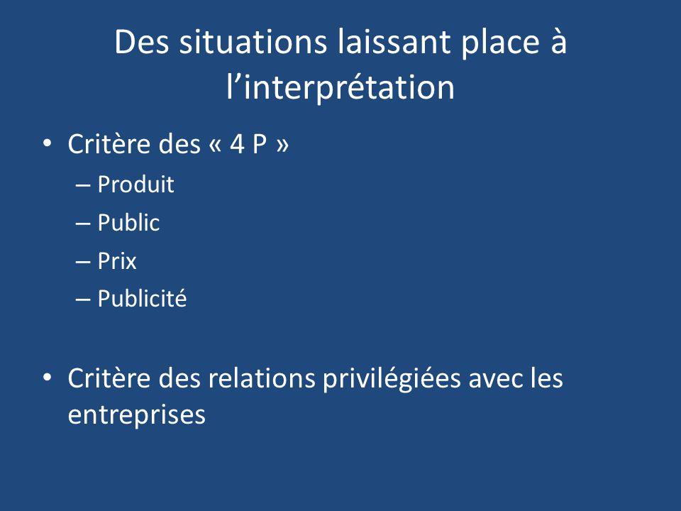 Des situations laissant place à linterprétation Critère des « 4 P » – Produit – Public – Prix – Publicité Critère des relations privilégiées avec les