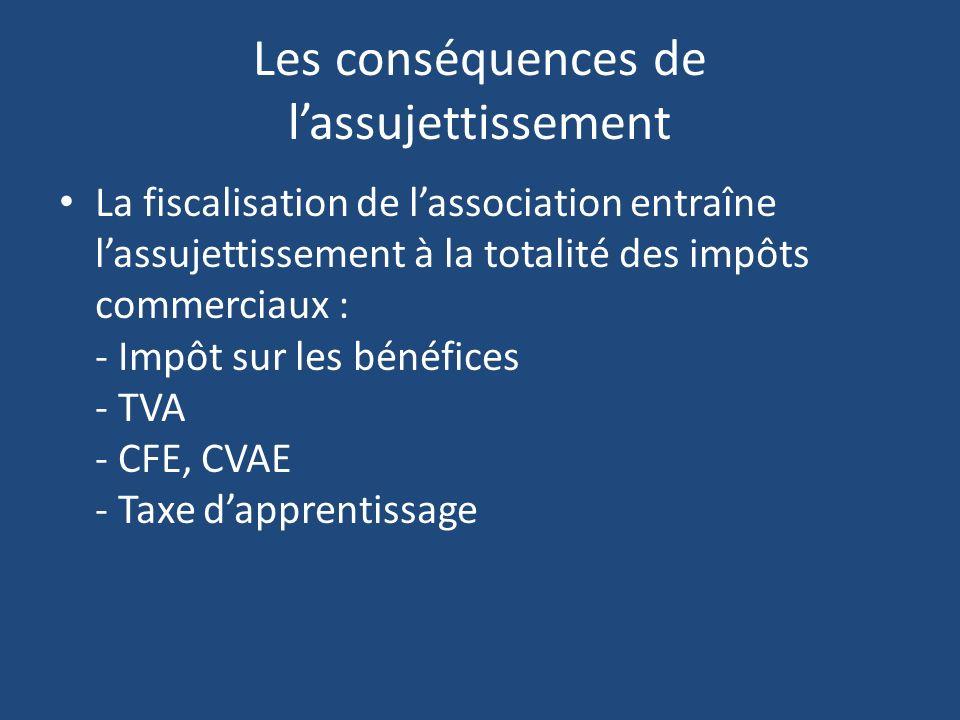 Les conséquences de lassujettissement La fiscalisation de lassociation entraîne lassujettissement à la totalité des impôts commerciaux : - Impôt sur l