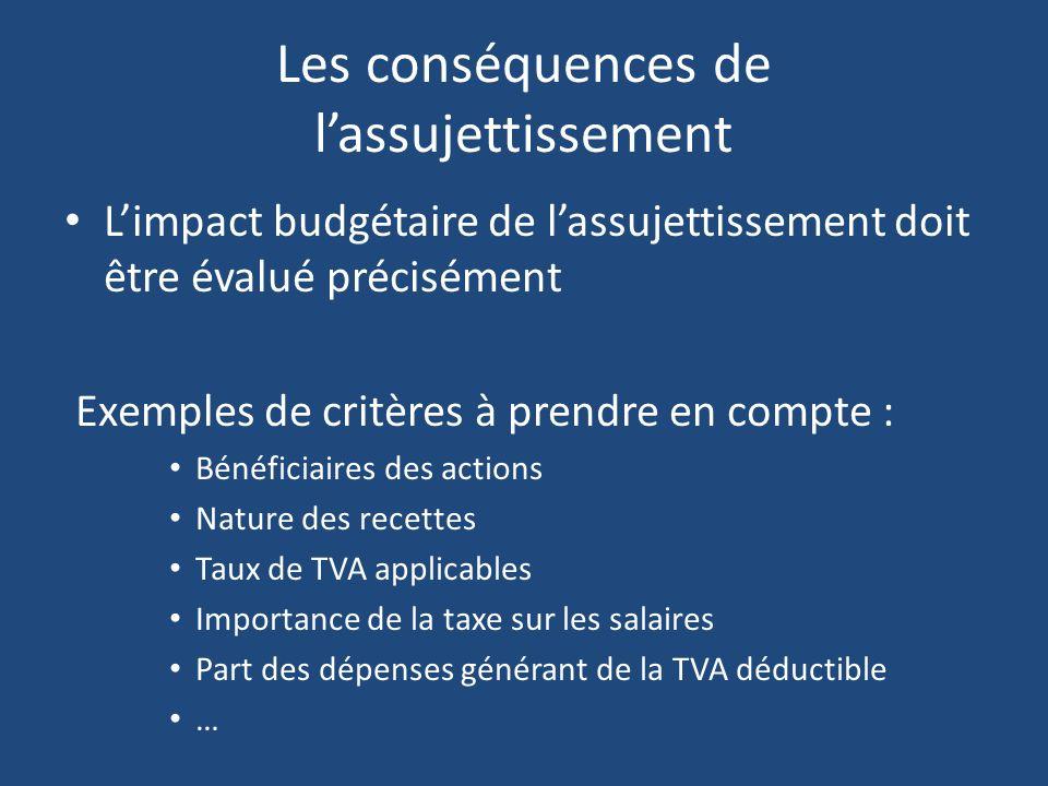 Les conséquences de lassujettissement Limpact budgétaire de lassujettissement doit être évalué précisément Exemples de critères à prendre en compte :