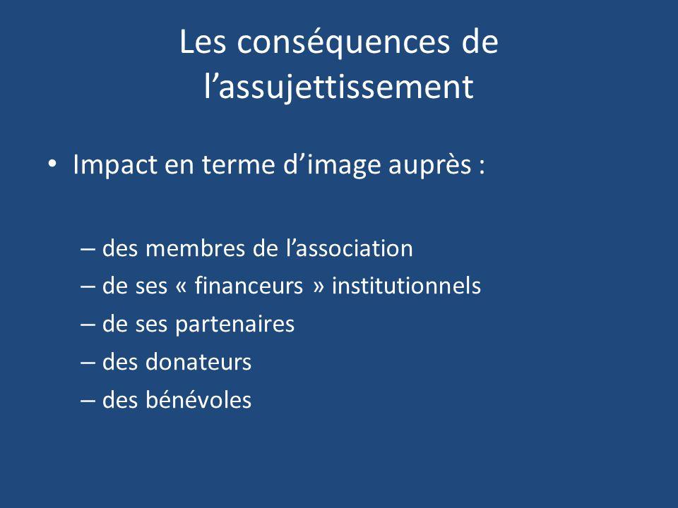 Les conséquences de lassujettissement Impact en terme dimage auprès : – des membres de lassociation – de ses « financeurs » institutionnels – de ses p