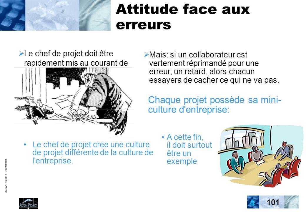Action Project / Formation 101 Attitude face aux erreurs Le chef de projet doit être rapidement mis au courant de chaque retard, de chaque problème Chaque projet possède sa mini- culture d entreprise: Le chef de projet crée une culture de projet différente de la culture de l entreprise.