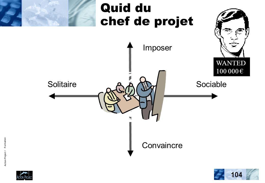 Action Project / Formation 104 Quid du chef de projet Imposer Convaincre SolitaireSociable WANTED 100 000